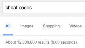 Google search for cheat codes