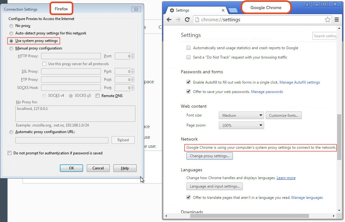 Chrome and Firefox proxy settings configuration
