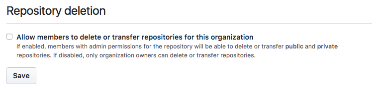 Github setting for repository deletion by members